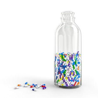 Comprimidos de vários tipos e tamanhos em uma garrafa com o logotipo das redes sociais mais famosas.