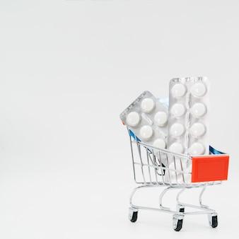 Comprimidos dentro do carrinho de compras