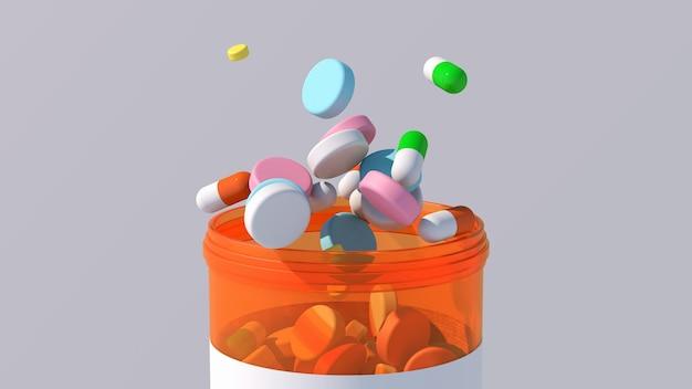 Comprimidos e cápsulas de remédios coloridos