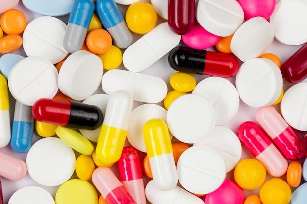 Comprimidos medicinais de close-up