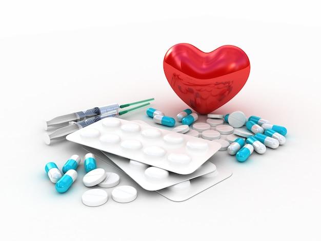 Comprimidos médicos com coração vermelho. ilustração 3d