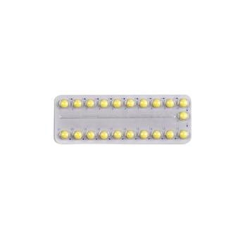 Comprimidos médicos pílulas anticoncepcionais isoladas na superfície branca
