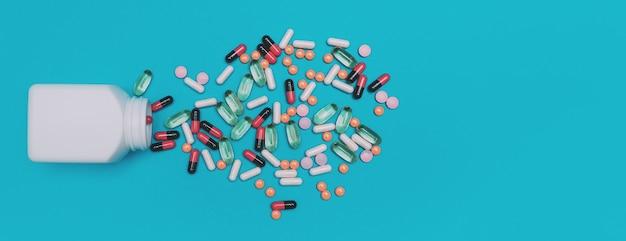Comprimidos multicoloridos caindo de um frasco em um panorama de fundo azul