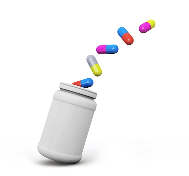 Comprimidos voam de um frasco médico em fundo branco renderização 3d