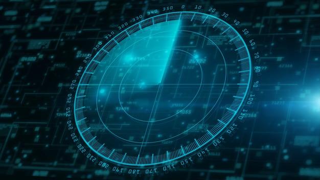Computação digital em nuvem e varredura de radar de segurança cibernética. proteção de rede de dados digital