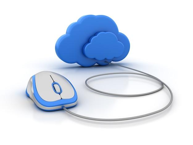 Computação em nuvem com mouse de computador