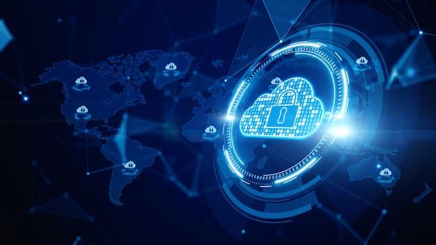 Computação em nuvem digital, segurança cibernética, proteção de rede de dados digitais, tecnologia do futuro conexão de rede de dados digitais