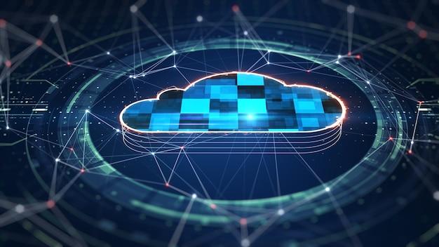 Computação em nuvem e conceito de big data. conectividade 5g de dados digitais e informações futurísticas. internet de alta velocidade abstrata de coisas iot big data cloud computing. renderização 3d
