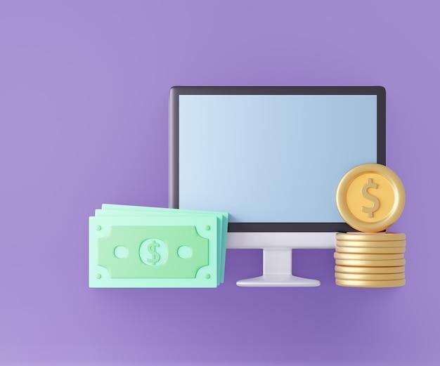 Computador 3d com notas e moedas de dinheiro. estilo pastel. renderização de ilustração 3d.