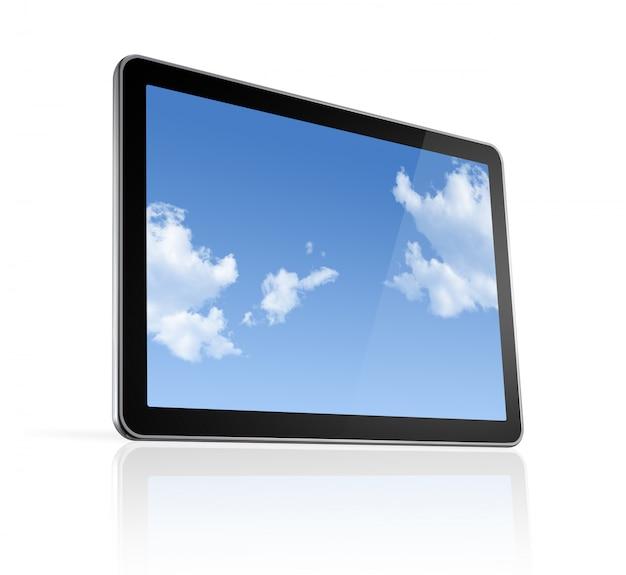 Computador 3d, digital tablet pc, isolado no branco com traçado de recorte