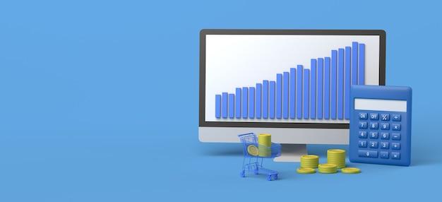 Computador com carrinho de compras de moedas e calculadora ilustração 3d do mercado de ações copiar espaço
