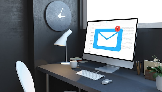 Computador com e-mail na área de trabalho na sala da marinha renderização em 3d