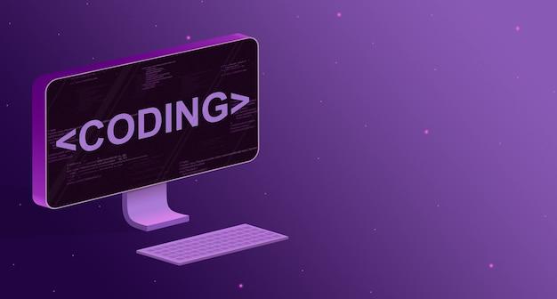 Computador com elementos do código do programa na tela e a codificação de inscrição 3d