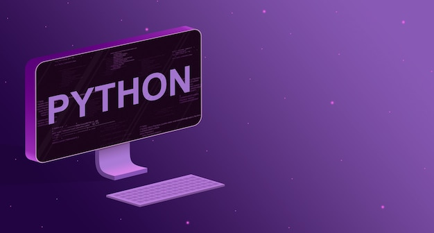 Computador com elementos do código do programa na tela e a inscrição python e um teclado em um fundo roxo 3d