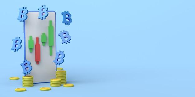 Computador com gráfico de velas de moedas e símbolos de bitcoin investimento financeiro ilustração 3d
