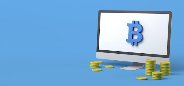 Computador com moedas de bitcoin e símbolo de bitcoin investimento financeiro online ilustração 3d
