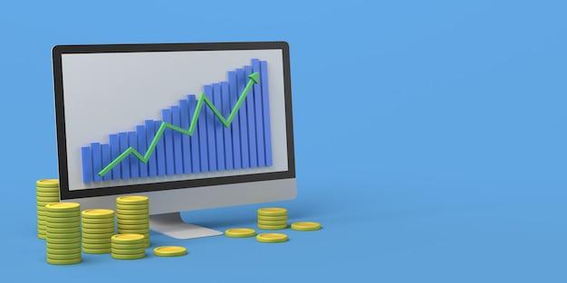 Computador com moedas e gráfico de velas investimento financeiro ilustração 3d copiar espaço
