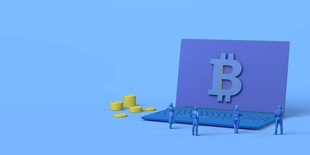 Computador com moedas e símbolo de bitcoin com pessoas assistindo a renderização 3d de investimento financeiro online