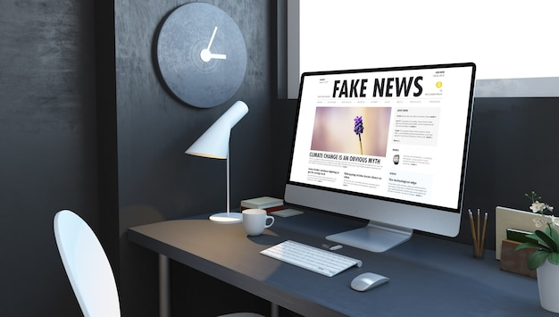 Computador com notícias falsas na área de trabalho na renderização em 3d da sala da marinha