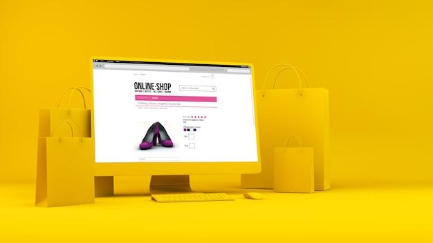 Computador com sacolas de compras