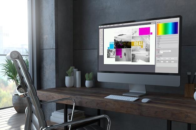 Computador de design gráfico em renderização 3d mínima de desktop