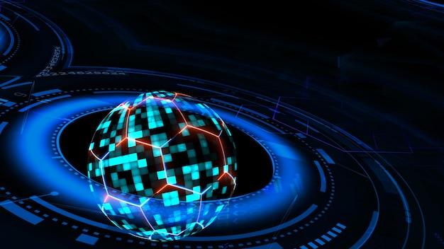 Computador de tecnologia futurística quântica com esfera digital azul e hexágono