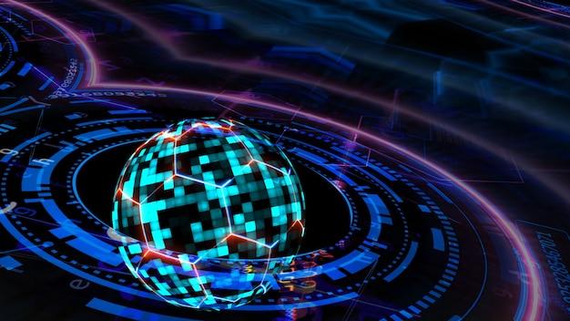 Computador de tecnologia futurística quantum com esfera digital azul e hexágono e cobertura e proteção de animação de fio laser azul vermelho