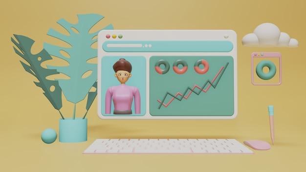 Computador de tela futurista transparente com análise de negócios