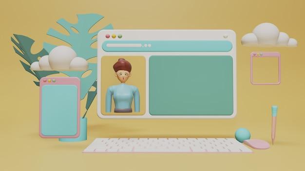 Computador de tela futurista transparente com avatar de mulher
