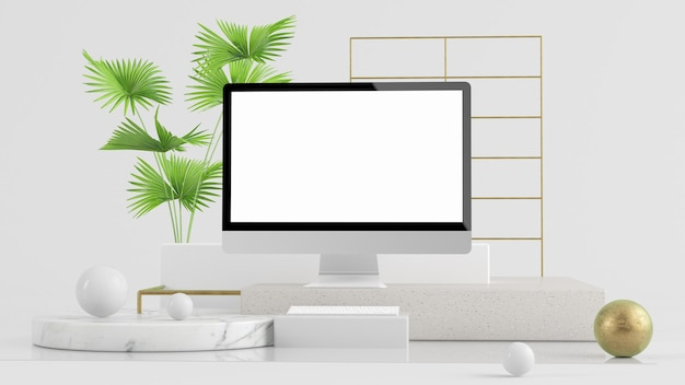 Computador em renderização 3d de fundo abstrato moderno