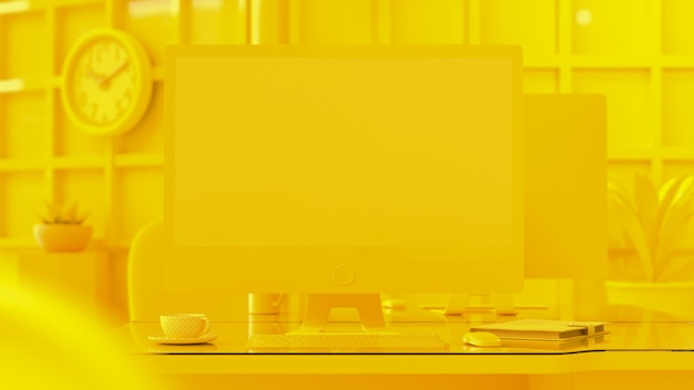 Computador fundo amarelo cor.