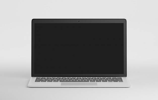 Computador isolado em um fundo com sombra