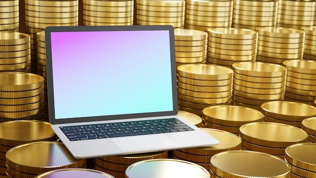 Computador laptop colocado nas fileiras de moedas de ouro Foto Premium