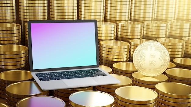 Computador laptop com moeda bitcoin colocada nas fileiras de moedas de ouro