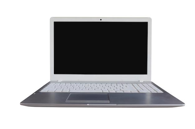 Computador laptop com tela preta em branco sobre fundo branco