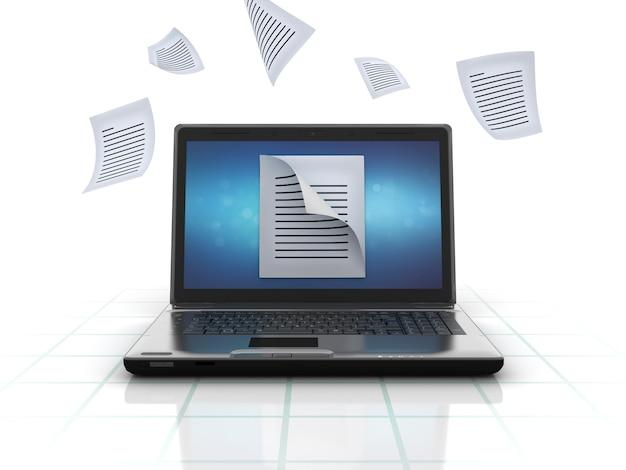 Computador laptop compartilhando arquivos