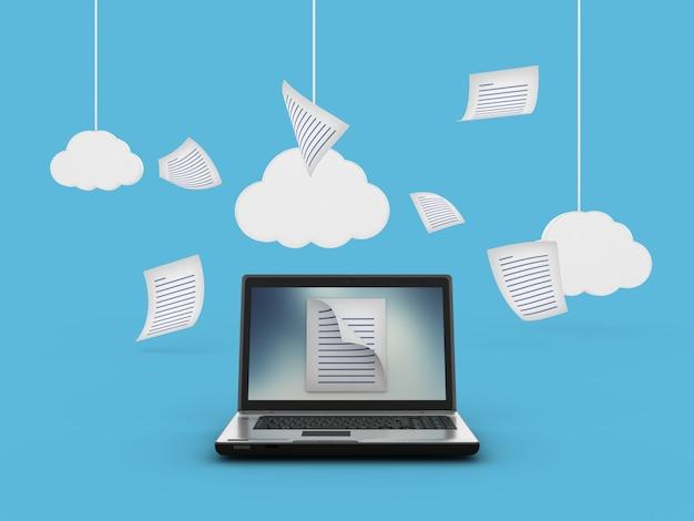 Computador laptop compartilhando dados
