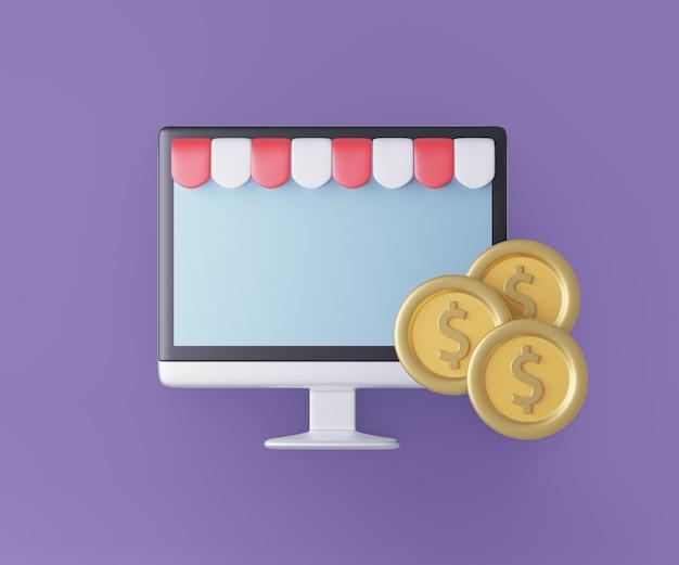 Computador monitor de tela 3d com decoração de loja e moedas de dólar de ouro. renderização de ilustração 3d.