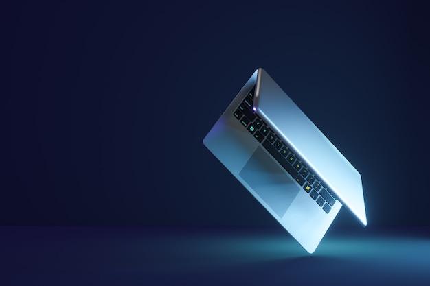 Computador portátil 3d com tela virada em fundo azul escuro. renderização de ilustração 3d.