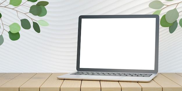 Computador portátil 3d na mesa de madeira na parede curva branca com fundo de árvore de folhas verdes. renderização de ilustração 3d.