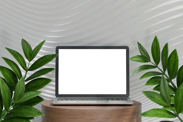 Computador portátil 3d na parede curva branca com fundo de árvore de folha verde. renderização de ilustração 3d.