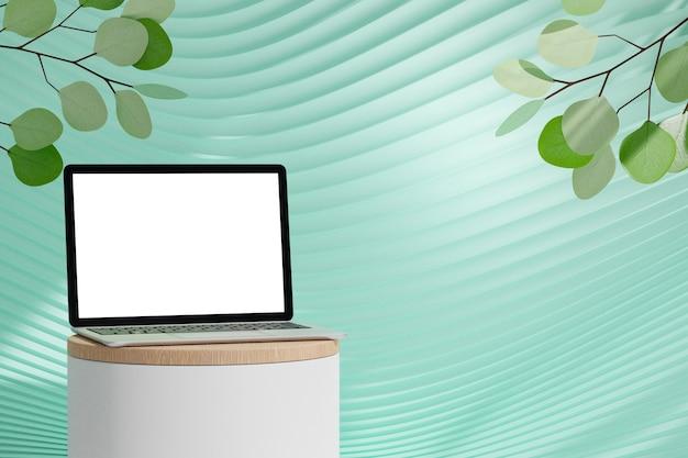 Computador portátil 3d na parede curva verde pastel do pódio do cilindro com fundo de árvore de folha de oliveira verde. renderização de ilustração 3d.