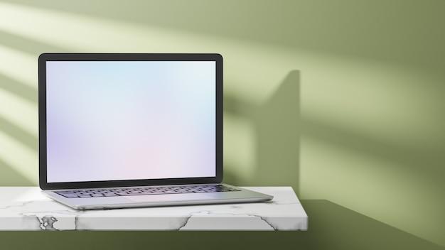 Computador portátil colocado no topo de mármore com a luz do sol sobre fundo verde. imagem de renderização de ilustração 3d.