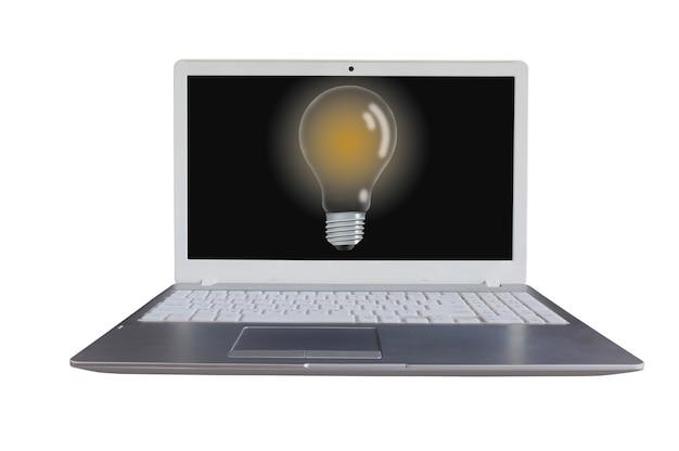 Computador portátil com lâmpada em tela preta, fundo branco.
