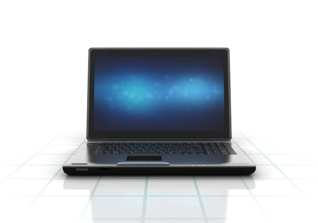 Computador portátil com tela azul