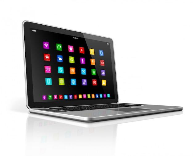 Computador portátil de alta tecnologia com interface de ícones de aplicativos