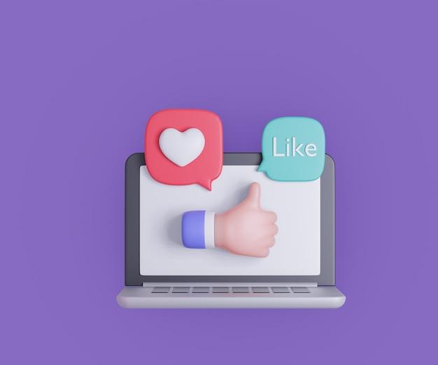 Computador portátil dos desenhos animados 3d com mão polegar para cima e coração como bolha no fundo roxo. ilustração de renderização 3d