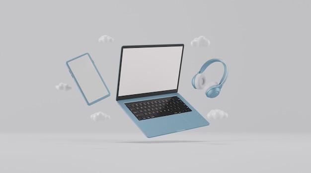 Computador portátil e dispositivo com tela em branco.
