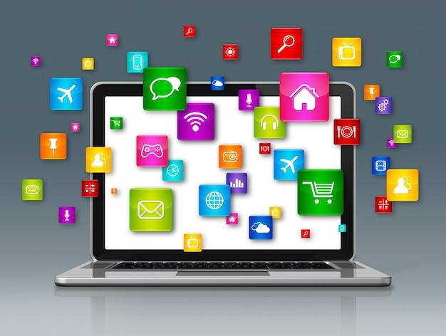 Computador portátil e ícones de aplicativos voadores isolados em cinza