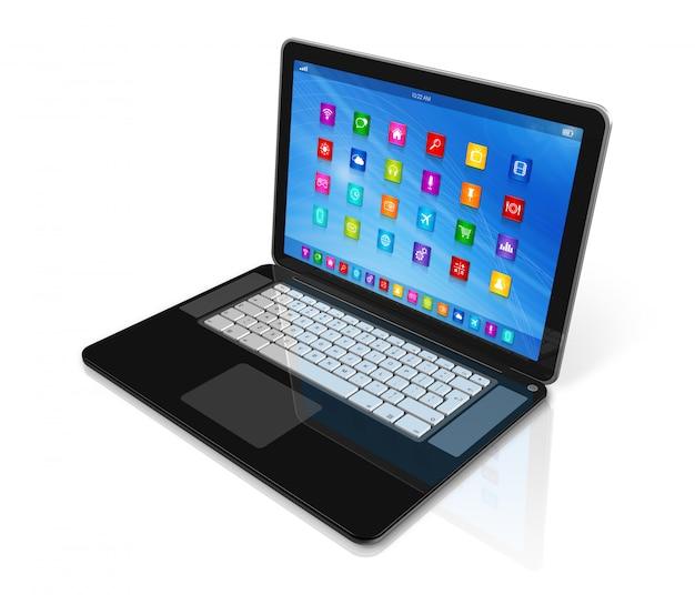 Computador portátil - interface de ícones de aplicativos